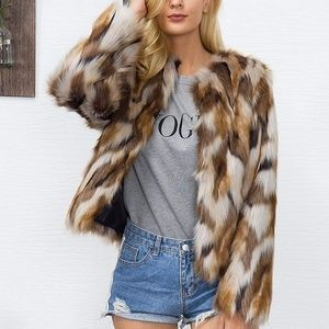 Winter Warm Colorful Mixed Faux Fur Coat Jacket